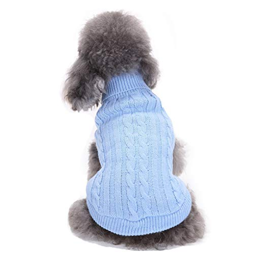 CHBORCHICEN Small Dog Sweater Pet Dog Knitted Sweater Winter Warm Puppy Clothes Classic Doggie Sweatershirt (Small,Light -