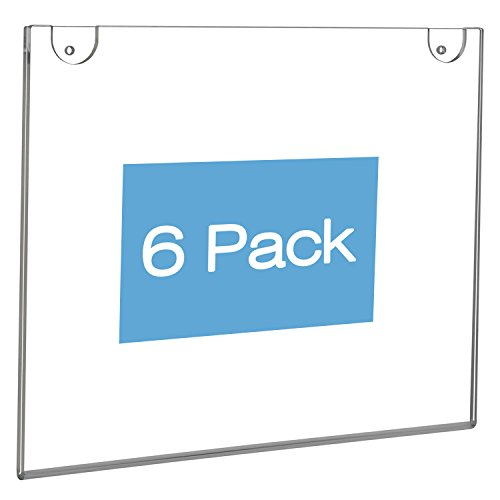 - NIUBEE Wall Mount Sign Holder 11 x 8.5 inch- Clear Acrylic Picture Frame for Paper- Horizontal(6 Pack)