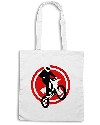 T-Shirtshock - Bolsa para la compra OLDENG00190 motorcycle jump fire wings Blanco