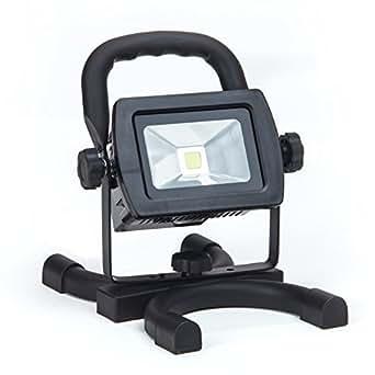LED 10 W Foco con Batería, 3 horas/890 lumens, IP44, portátil, inalámbrico se incluyen 230 V AC y 12 V de carga