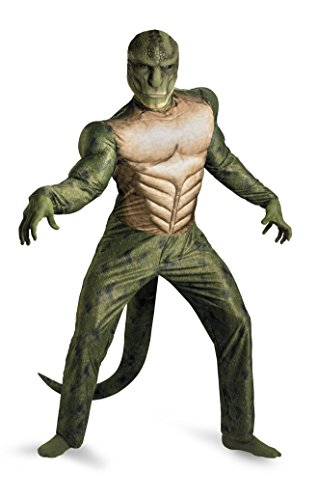 Green Spiderman Costume (Disguise Marvel The Amazing Spider-Man 3D Movie Lizard Classic Muscle Adult Costume, Green/Tan,)