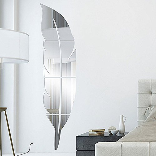Garwarm 3D Fashion Modern Creative Removable Decorative Acrylic Frameless Mirror Wall Art Sticker Mural for Home Office Decor Girls Kids Living Room Bedroom fitting room-Silver Feather