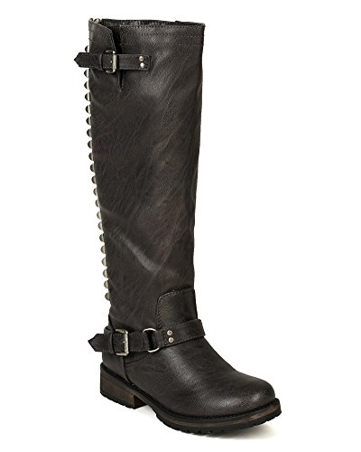 Breckelles BD52 Women Leatherette Studded Buckle Riding Knee High Boot Grey