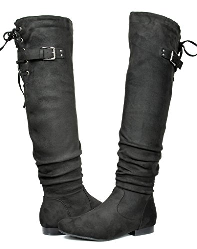 DREAM PAIRS Women's Colby Black Over The Knee Pull On Boots - 8 M -