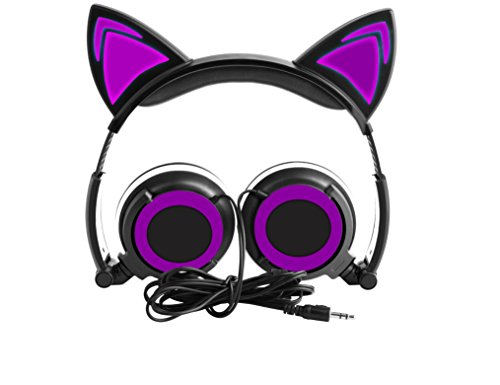 Cat Ear Headphones, Flashing Glowing Cosplay Foldable Wired Over Ear Headphone with Glowing Light for Girls Children,Compatible for iPhone and Other Android Phones,PC Laptop Computer (Purple)