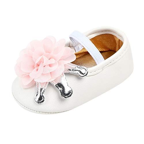 Riverdalin Infants Girls Mary Jane Flats Baby Girls Flower Princess Dress Shoes Anti-Slip Crib First Walkers Sandals Pink