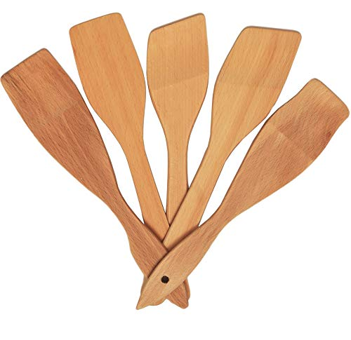 Non-Scratch Wooden Spoons for Cooking – Premium Healthy Cooking Utensils Set - 5 Nonstick Wooden Spatula and Spoons - Super Strong and Durable Made of 100% Natural Eco Hardwood (Beechwood Utensil)