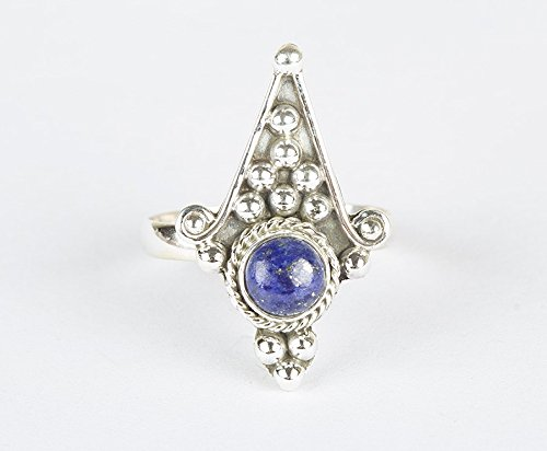 Lapis Lazuli Ring | Unique Piece | Sterling silver | Handmade Jewelry | Boho Look | Silver Charm | Round Stone | September Birthstone |