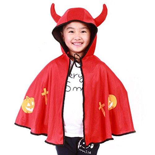 [Hatop Halloween Children Cloak Masquerade Cos Props Small Devil Horns Gowns (Red)] (Naruto Deluxe Child Jacket Costumes)
