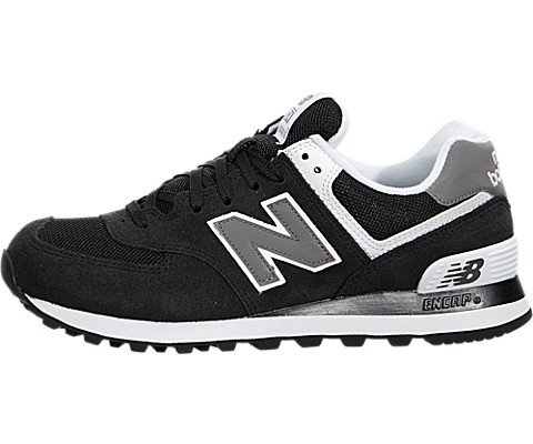 New Balance Women's W574 Core Collection Running Shoe, Black/White, 6 B US
