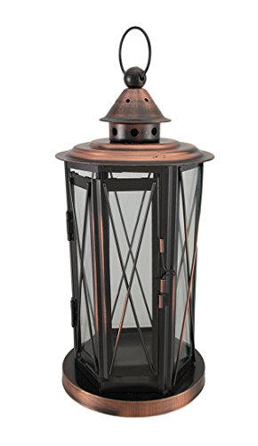 Zeckos Polished Antique Copper Finish Metal and Glass Candle ()