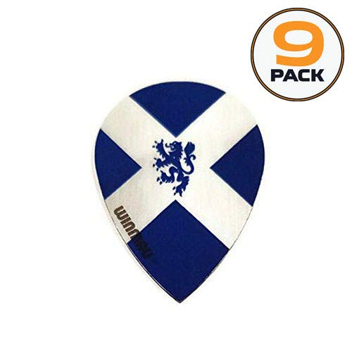 Art Attack 9 Pack Winmau Scotland Flag Lion Scottish 75 Micron Strong Slim Pear Dart Flights (The Of Flight Lion)