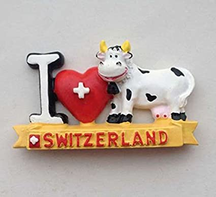 Hot Sale Hand Painted Cute Switzerland Cows 3d Fridge Magnets