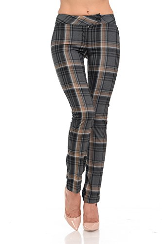 Sweethabit Womens High-Mid Waist Plaid, Solid, Stripe Full Length Button Trim Pants(3030N)