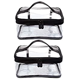 2 Pcs Clear Makeup Bag Clear Cosmetic Bag Waterproof Clear Toiletry Bag for Women Men, Black Travel Accessories Organizer with Zipper