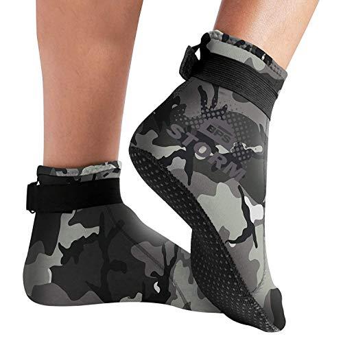 BPS Neoprene Socks (LC) - Grey Camo w/Lilac Grey Accent - XXL - Lilac Accent