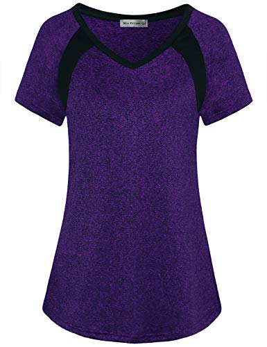 Miss Fortune Short Sleeve Yoga Tops, Active Shirts & Tees Sports Tops for Women Long Sleeve Running Shirt Winter Gym Top Sun Protection Durable, Purple XXL