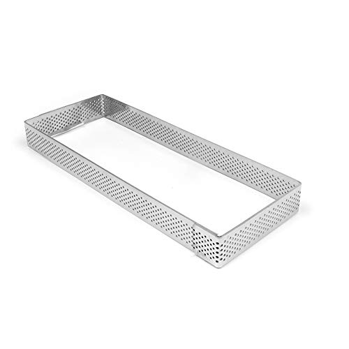 TableTop King Perforated Stainless Steel Rectangular Tart Ring, 2 3/4 inch x 7 1/2 inch x 3/4 inch (2cm) High