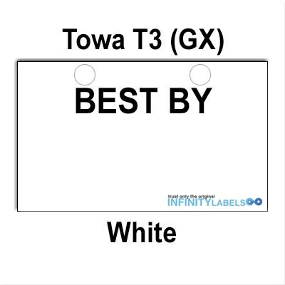 75,000 TOWA T3 compatible ''BEST BY'' White Labels to fit the Towa T3 (GX) Price Gun. Full Case [bulk pricing] by Infinity Labels