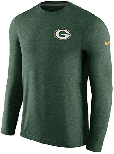Men's Green Bay Packers Nike Green Coaches Long Sleeve Performance T-Shirt (Large) (Nike Coaches Gear)