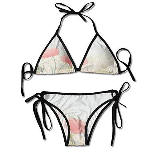 kjhep lk Womens Sexy Bikini 2 Pieces,Herbs Twigs Leaves Grass Sexy Bikini 2 ()