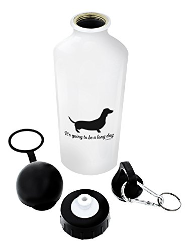 Dachshund Gifts It's Going to be a Long Day Dachshund Decor Funny Dog Lover Gifts Gift Aluminum Water Bottle with Cap & Sport Top White
