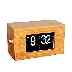 KABB Creative Flip Clock, Handmade Natural Bamboo Material Stylish Mini Retro Flip Down Desk Clock -Internal Gear Operated (5.5 inch)