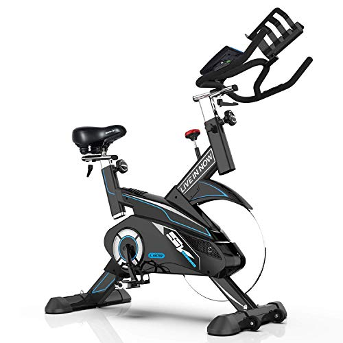 L NOW Indoor Cycling Bike-Pro Exercise Bike with 35lbs Solid Flywheel, Tablet Holder, Pulse and LCD Display Smooth and Quiet for Home Cardio Gym(Black)