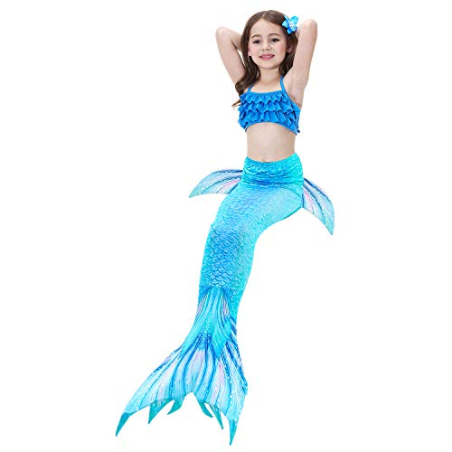 2019 3 Pcs Mermaid Tails for Swimming for Girls Can Add Monofin, Bikini Swimsuit Set Mermaid Tails Birthday Gifts for Kids by AMENON (Image #4)