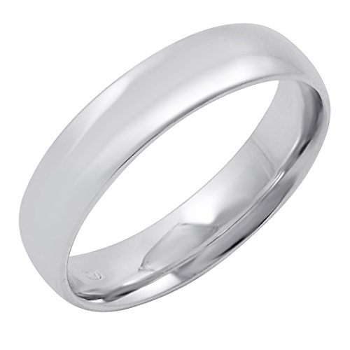 Men's 14K White Gold 5mm Comfort Fit Plain Wedding Band (Available Ring Sizes 8-12 1/2) Size 8.5 ()