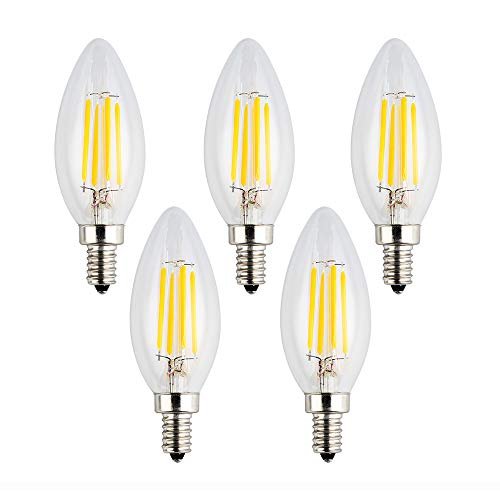 (OPALRAY 12V LED Candle Bulb, Dimmable with 12V DC Dimmer, 4W 400Lm, 2700K Warm White Light, E12 Small Base, Clear Glass Torpedo Tip, 40W Incandescent Replacement, 12 Volts Power Operated, 5 Pack)