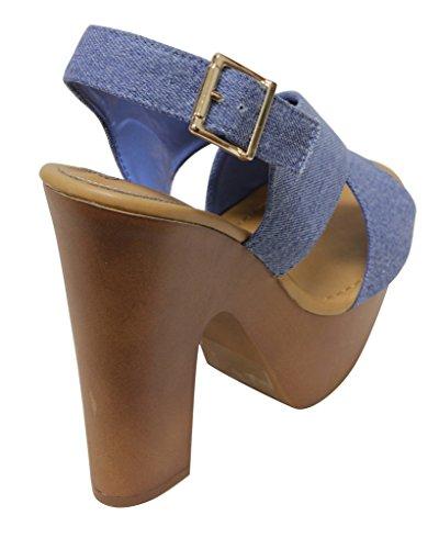Breckelles Rudy 13 womens Platform Heel Sandals Open Toe PU Blue veLbWdMN
