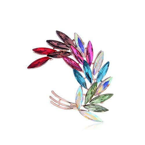 Brass Crystal Brooch - Rainbow Crystal Ginger Flower Curl Pin