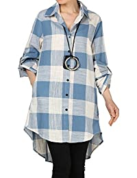 Mordenmiss Women's Tap Sleeve Shirt With Plaid Design Hi-low Hem Blouse