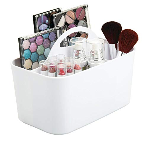 mDesign Plastic Makeup Storage Organizer Caddy Tote - Divided Basket Bin, Handle for Bathroom Storage - Holds Eyeshadow Palettes, Nail Polish, Makeup Brushes, Blush, Shower Essentials - Small - White