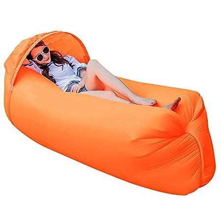 Haehne Portable Lazy Lounger Saco de Dormir, Interior al Aire Libre de Aire Sofá Sofá Cama de Sueño, Nylon Impermeable Plegable, Beanbag para Descansar, ...