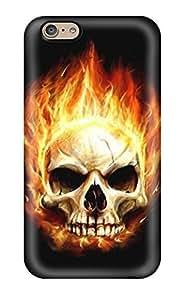 Premium Tpu Flaming Skull Cover Skin For Iphone 6