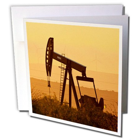 3dRose Pump Jack Pumping Oil in West Texas, USA - Greeting Cards, 6 x 6