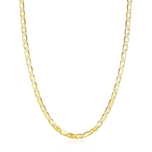 15 Inch Cable Chain (18k Gold over Sterling Silver Mariner Chain 15