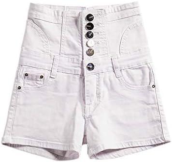 MELLRO Frauen-Jeans-Shorts Sommer mit hohen Taille Breasted Weiße Jeans Plus Größe Gurte Abdomen High Waist Denim Shorts Frauen Casual Sommer (Color : Blue, Size : S)
