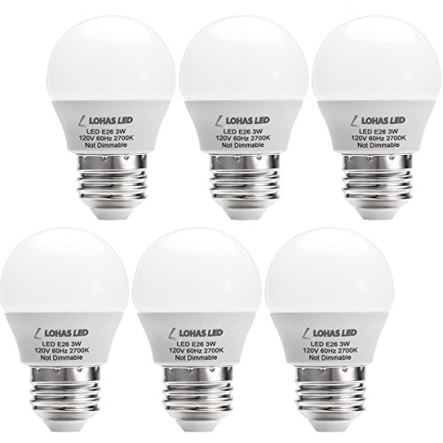 LOHAS 3W LED Light Bulb, G14 LED 25W Equivalent Light, E26 Medium Base Warm White 2700K LED Tiny Bulb, 120V Small Night Light Bulbs for Bedroom Ceiling Fan Table Lamp Lighting, Not-Dim 6 Pack ()