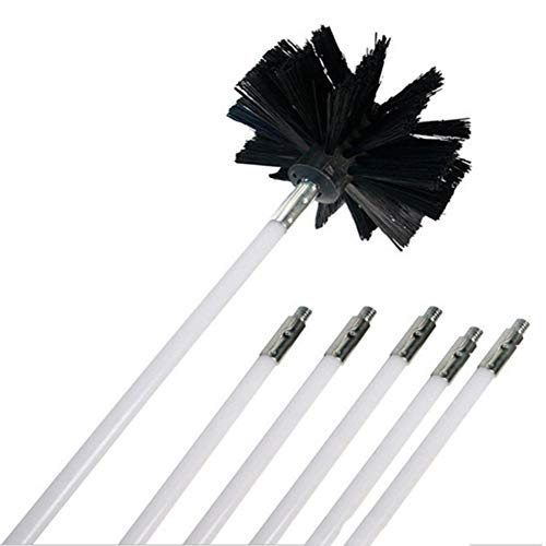 Maritown Chimney Brush Rod kit 6, Dryer Duct Cleaning Kit, Lint Remover,Extends Up to 12 Feet Synthetic Brush Head Vent Cleaning Kit Chimney Sweep Kit
