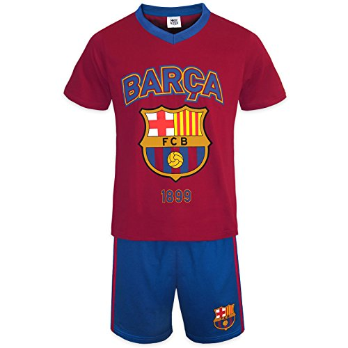 Ball Short Pajamas - FC Barcelona Official Soccer Gift Boys Short Pajamas Red Blue 8-9 Years