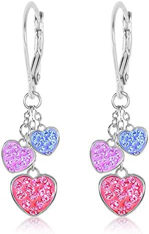 Premium 8MM Crystal Heart Leverback Kids Baby Girl Earrings By Chanteur – White Gold Toned – Perfect Gift For Children