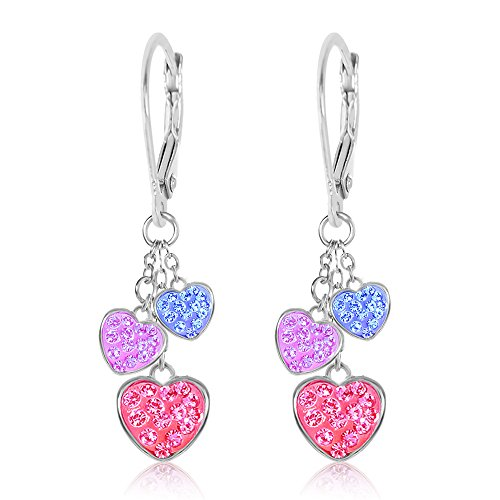 - Kids Earrings White Gold Tone Hearts Multi Crystal Earrings with Silver Leverbacks Baby, Girls, Children