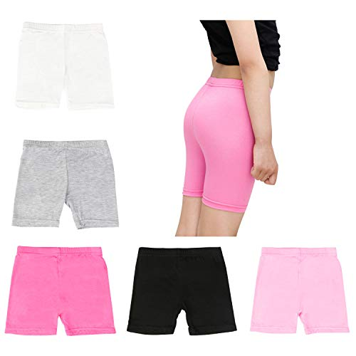 BOOPH Girls Dance Short, 5 Pack Assorted Color Bike Shorts for Girls 5-7 Year Old by BOOPH (Image #1)