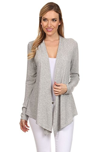 Ambiance Apparel Women's Long Sleeve Fly Away Cardigan Sweater (Large, Heather Grey) ()