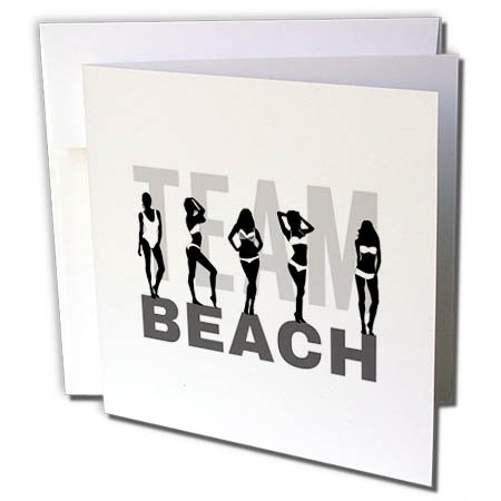 3dRose Alexis Design - Beach, Sea, Surf - Team Beach Text, Beautiful Girls in Bikinis, Black, Grey on White - 6 Greeting Cards with Envelopes (gc_283694_1) (Team Colors Personalized Invitations)