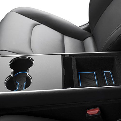 Custom Fit Cup and Center Console Liner Acessories for Tesla Model 3 2017 2018 2019 7-pc Set (Blue ()