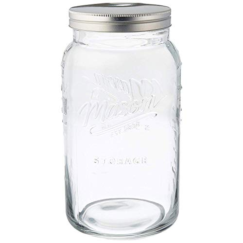 Grant Howard Jumbo Mason Embossed Glass Storage Jar, 136 oz, Clear (Jar Oversized Mason)